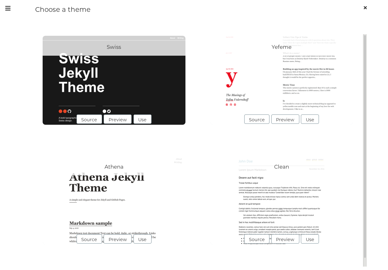 Choose a theme to create a website for free with Stastic editor